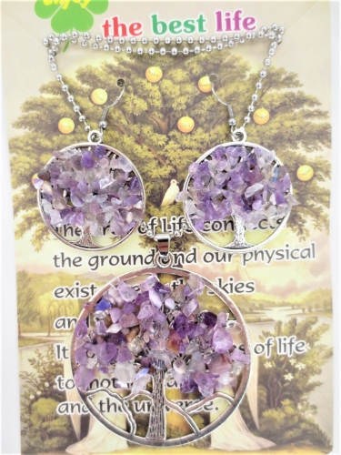 Tree of Life ketting + oorbel set amethyst