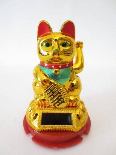 Lucky Cat Solar Light Goud (klein)