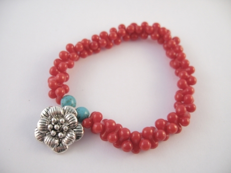 Red Coral armband Bloem