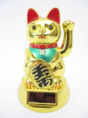 Lucky Cat Solar Light Goud (middel)