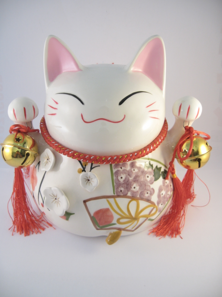 Witte lucky cat spaarpot groot / dragon euro trade bv